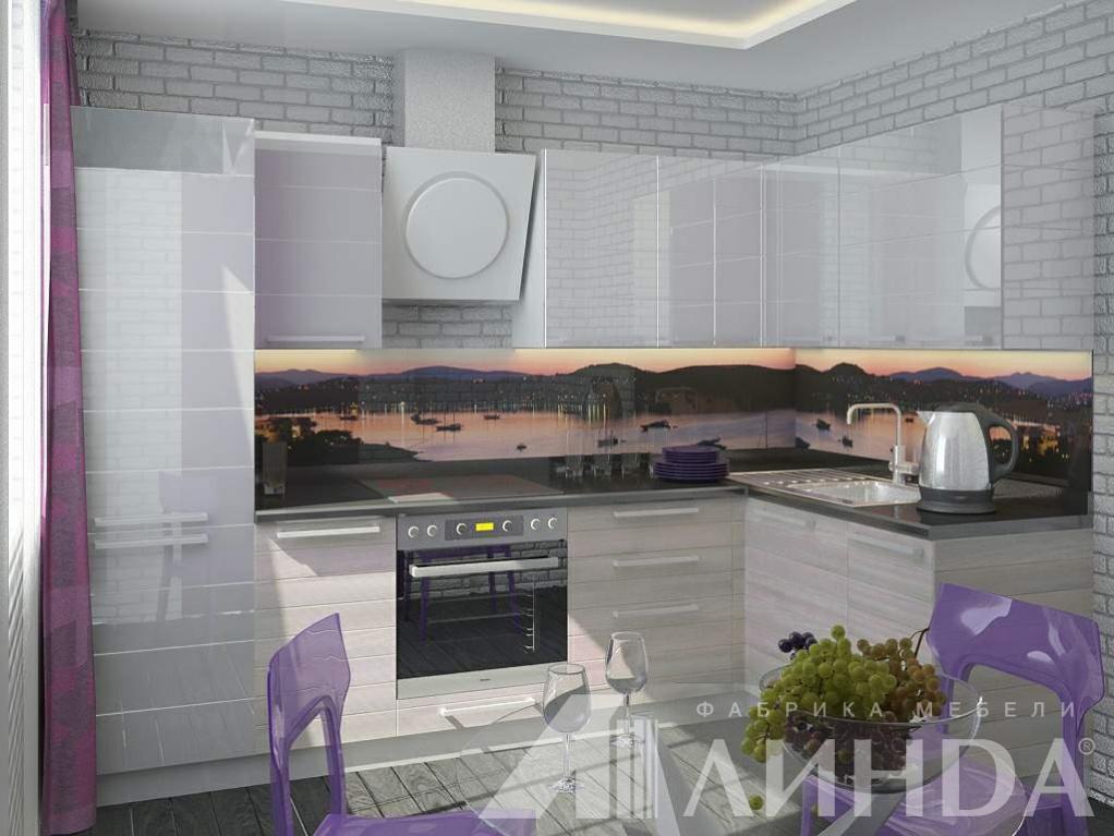 белая угловая кухня модерн мдф пвх стекло лакобель