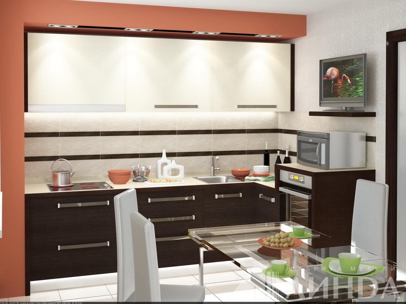 угловая кухня модерн ваниль глянец венге