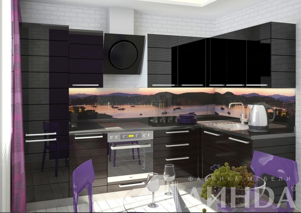 темная черная угловая кухня модерн мдф пвх стекло