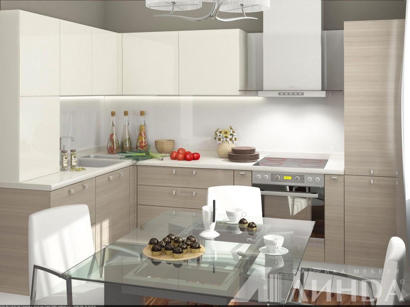свтлая белая угловая кухня модерн мдф пвх