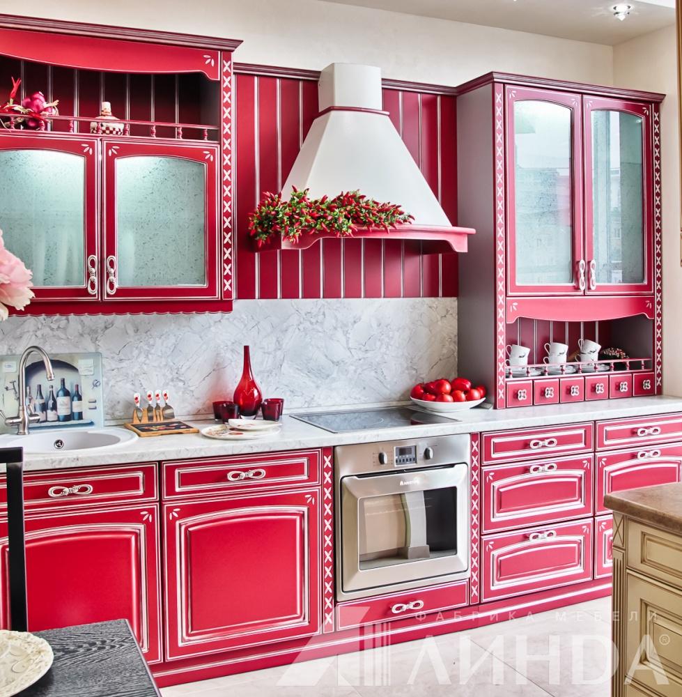 прямая классическая кухня красная бордовая МДФ ПВХ патина серебро