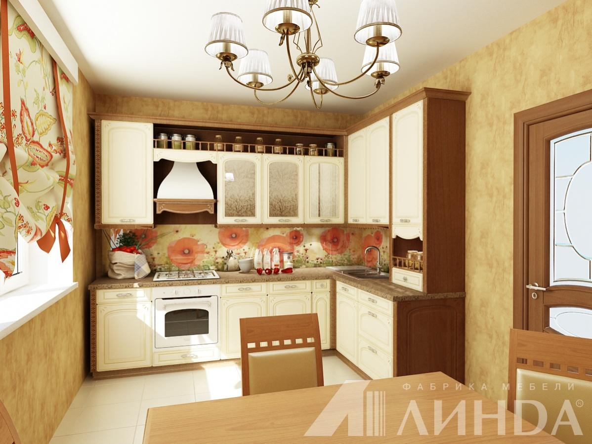 угловая кухня классика мдф пвх ваниль патина золото