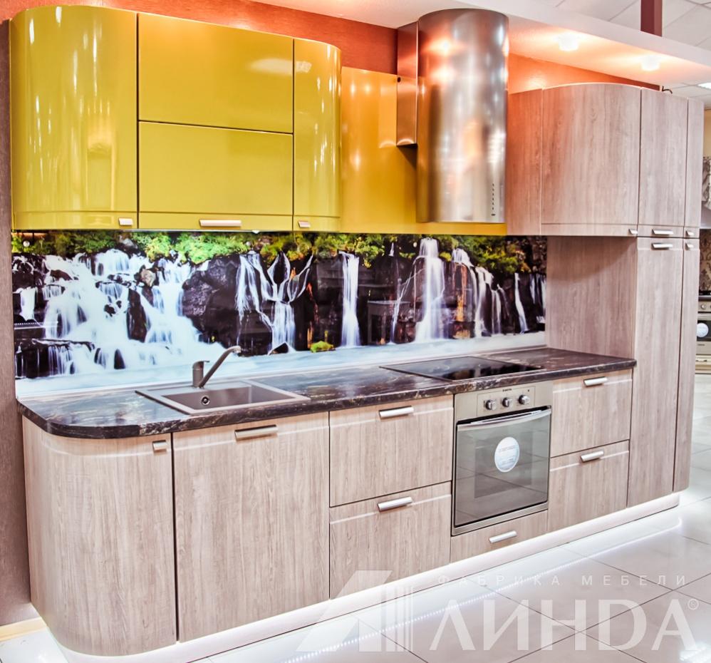 Прямая кухня модерн МДФ ПВХ олива глянец дуб сантана гнутые радиусные фасады