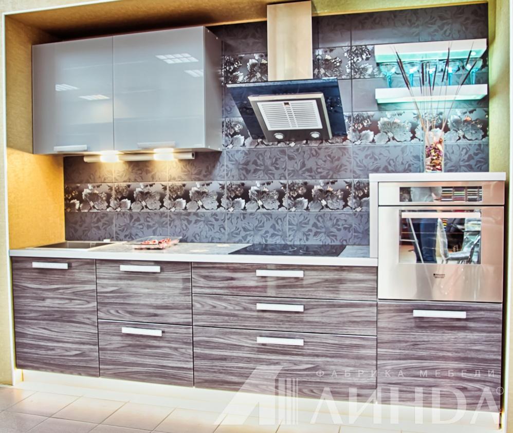 прямая кухня модерн мдф пвх глянец стекло лакобель