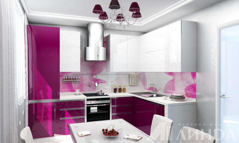 яркая угловая кухня модерн акрил фуксия белый