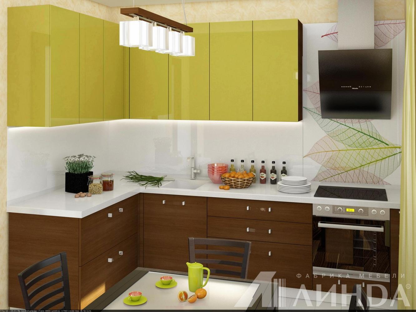 угловая кухня модерн олива глянец дуб мдф пвх