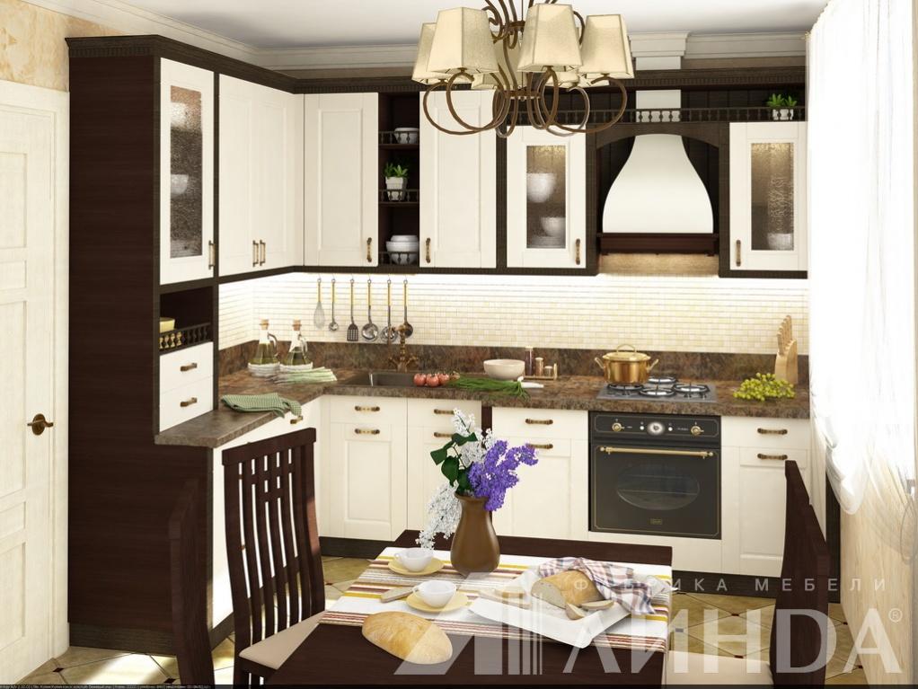 угловая кухня классика белая венге черно-белая с балюстрадами